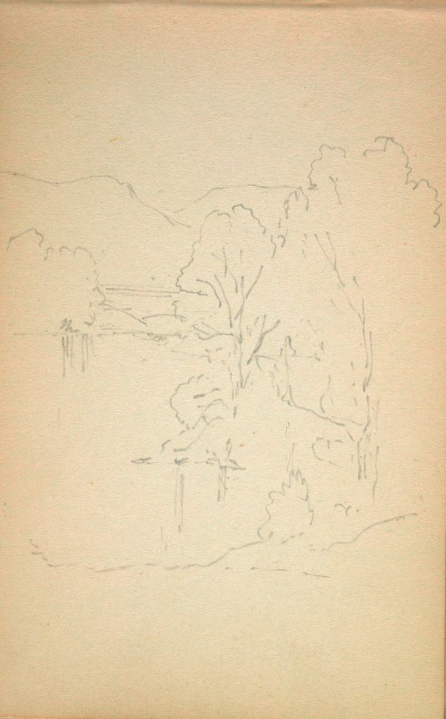Sketchy Landscape With Trees; Verso: Small Landscape