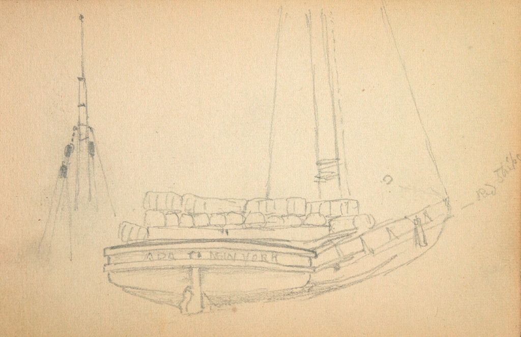 Study Of A Sailboat; Verso: Partial Dock Scene With Boats; Study Of Sailboat And Ship