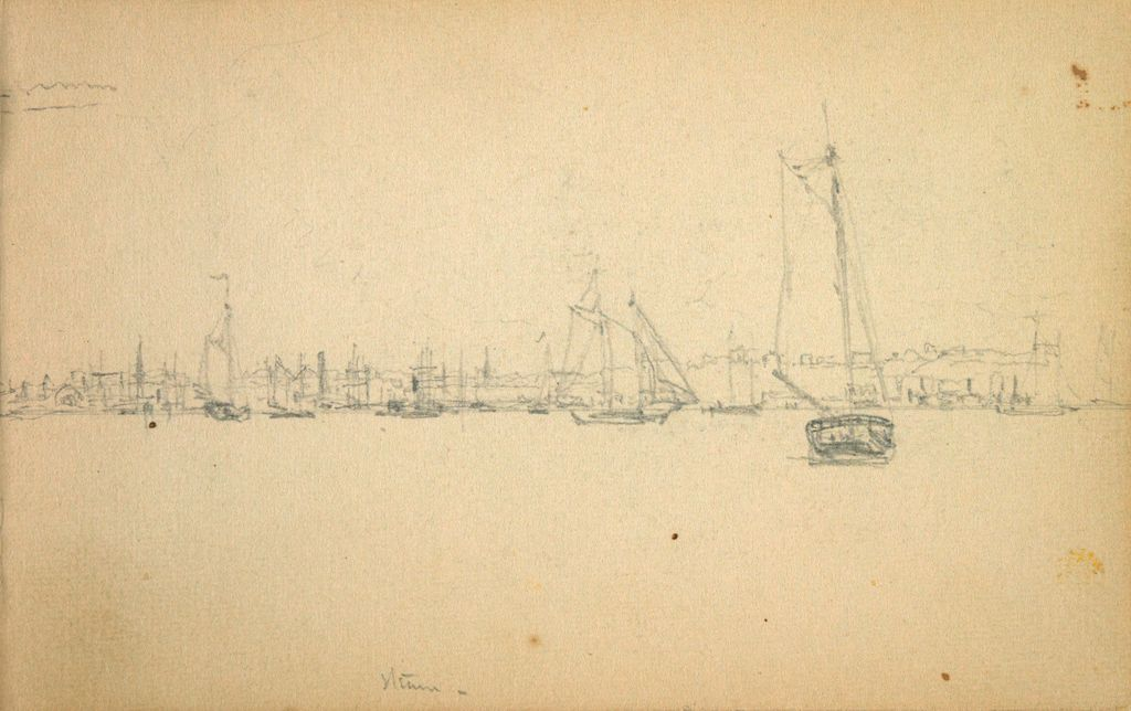Partial Dock Scene With Sailboats; Verso: Studies Of Sailboats And Ships