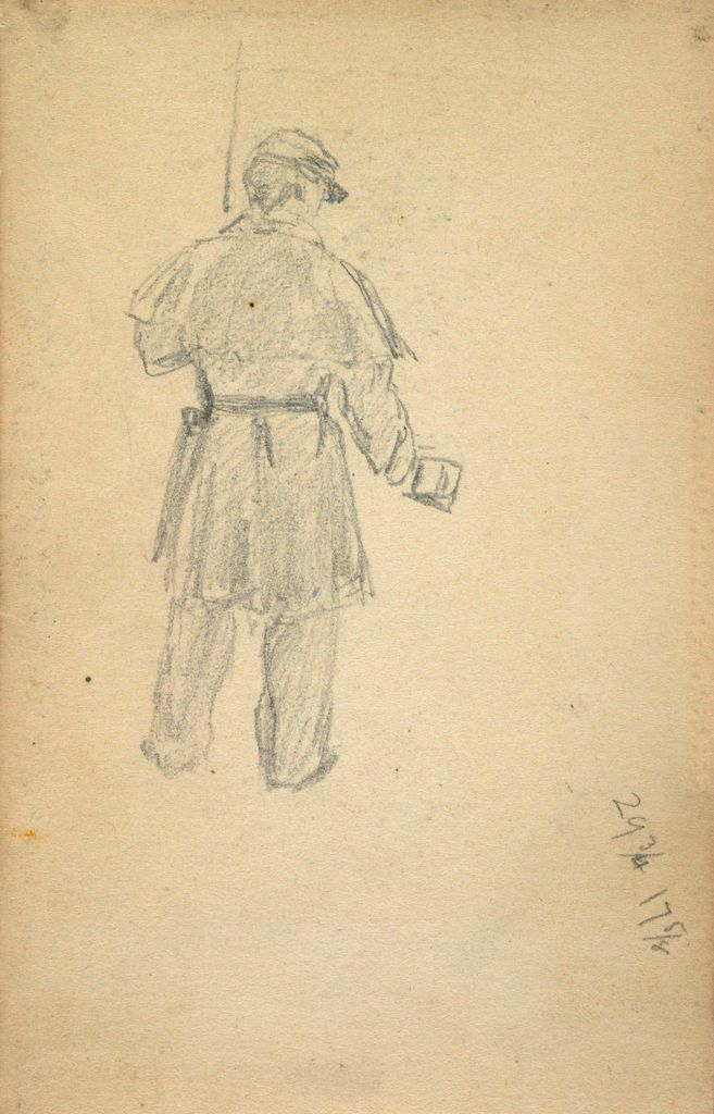 Standing Soldier With Cup; Verso: Partial Mountain Landscape