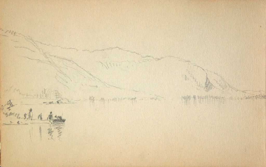 Partial Mountain Landscape; Verso: Standing Soldier With Rifle