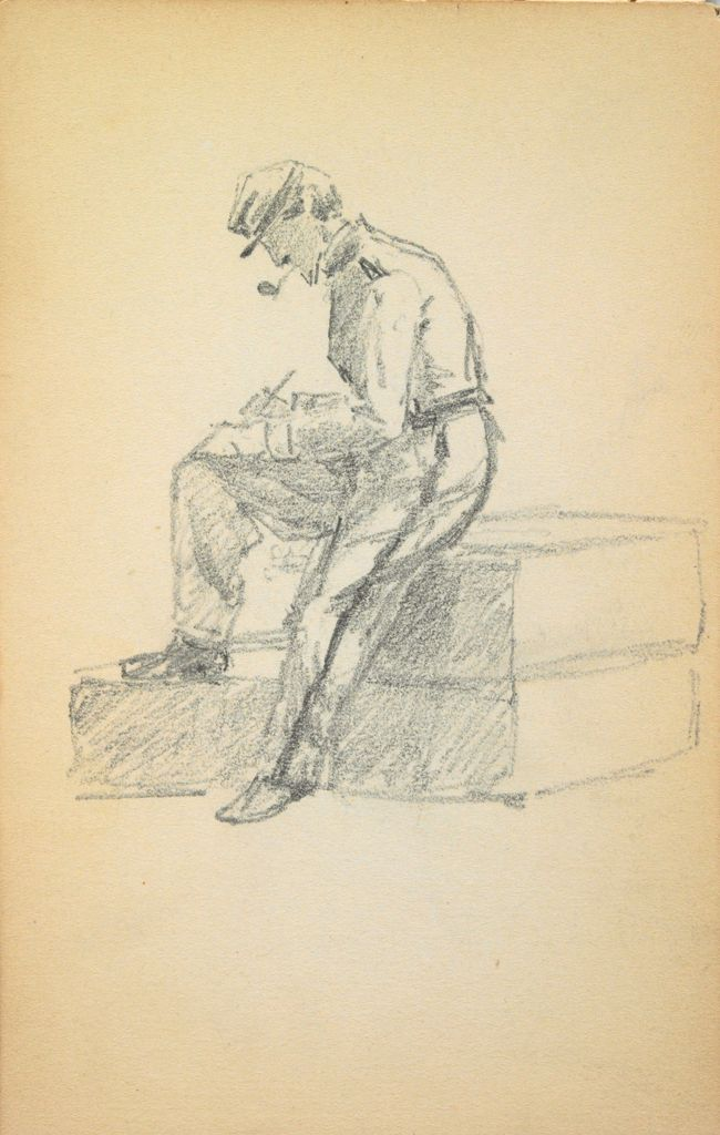 Sketchy Seascape; Verso: Seated Soldier