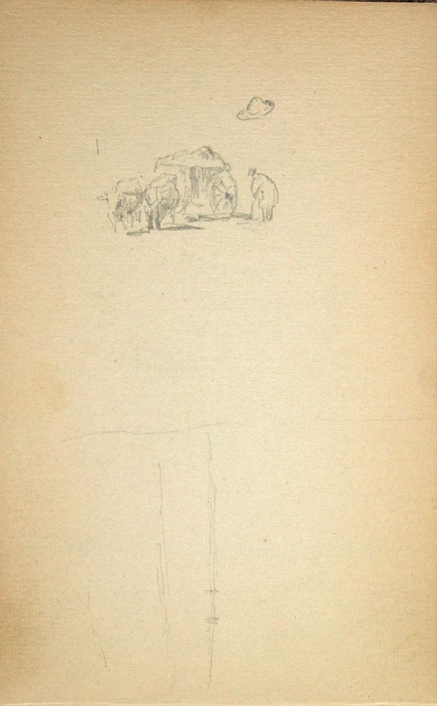 Blank Page; Verso: Oxcart With Figures; Partial Landscape With Buildings