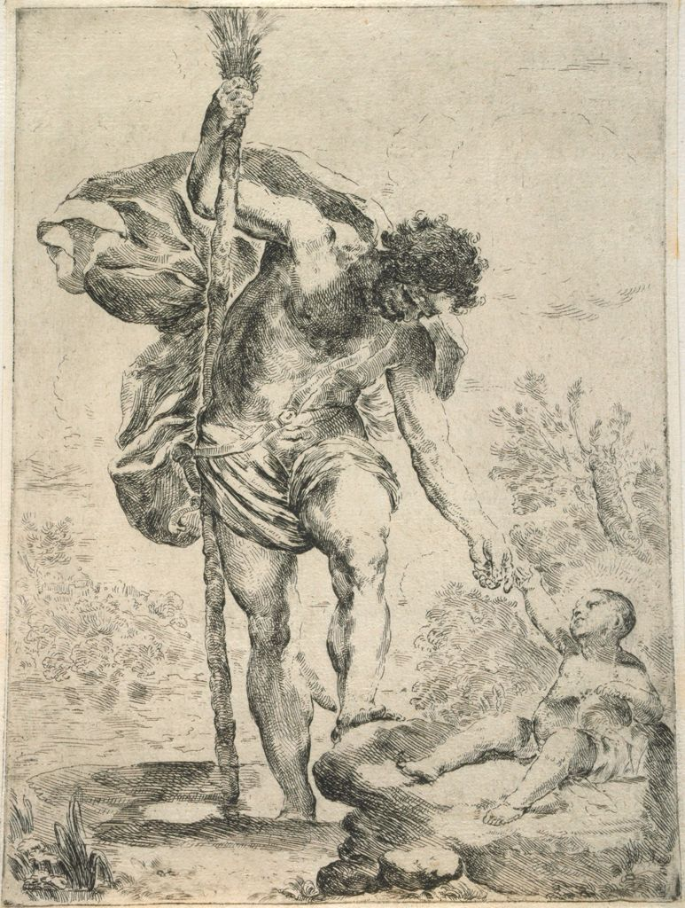 Saint Christopher Reaching Down For The Infant Christ