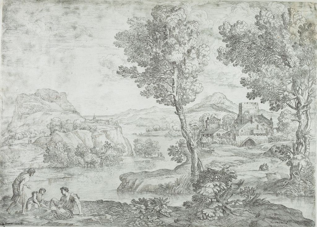 Landscape With Man Standing Near Two Seated Men