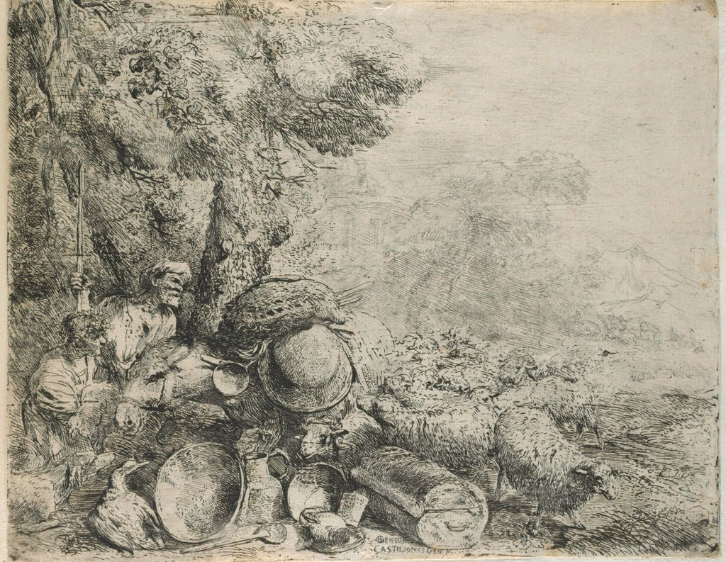 Flock Of Sheep Surrounding A Laden Donkey