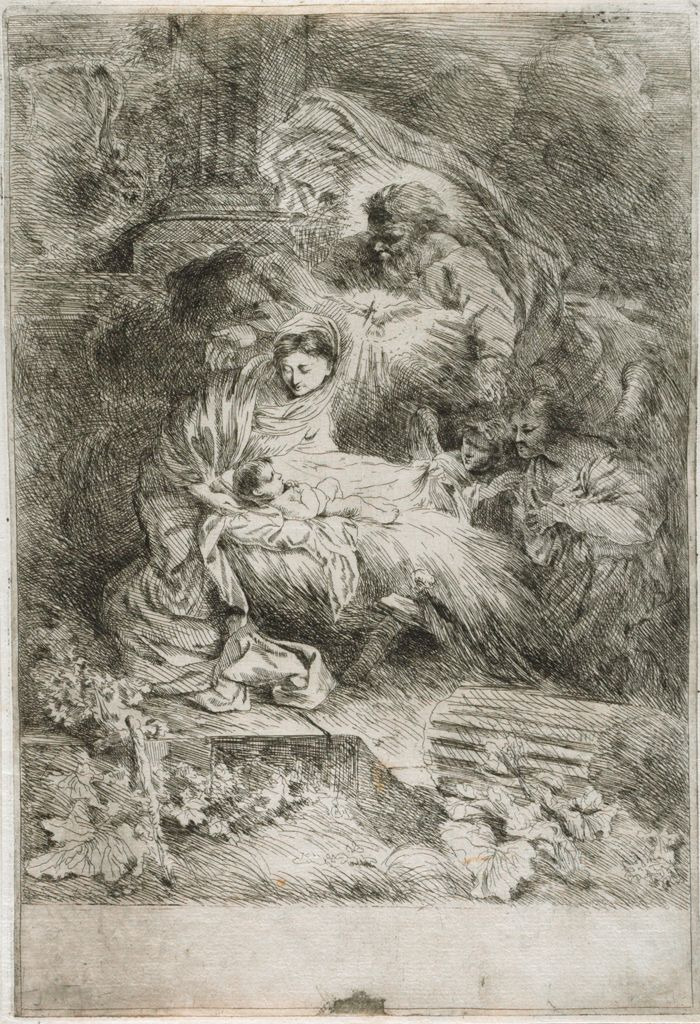 God The Father And The Holy Spirit Adoring The Christ Child