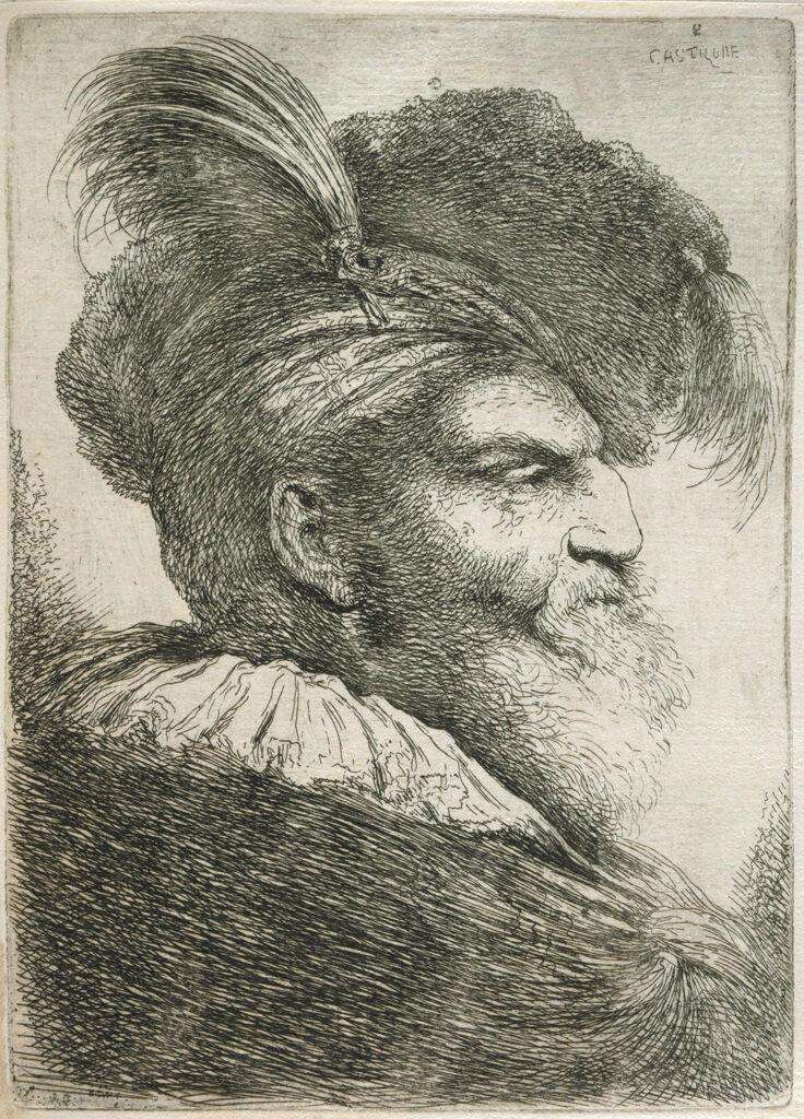 Large Study Of A Head In Oriental Headdress