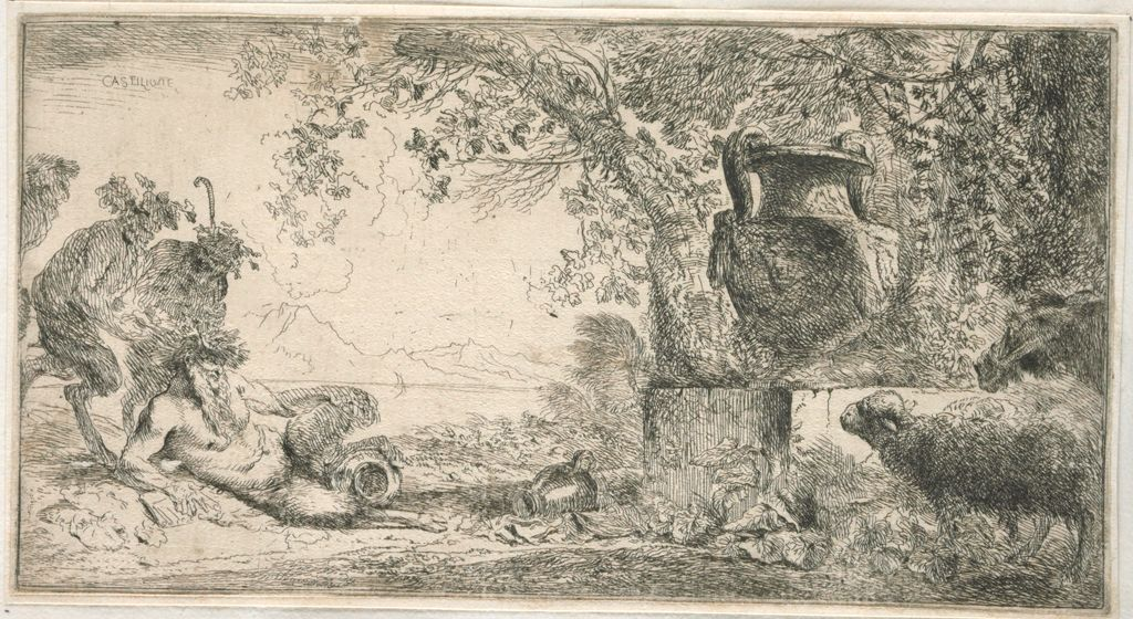 Pan Seated Near A Vase