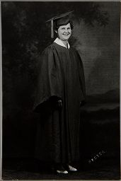 Untitled (Young Woman In Graduation Cap And Gown, Full Length)