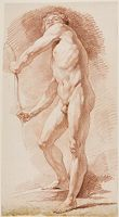 Standing Male Nude Holding A Bow