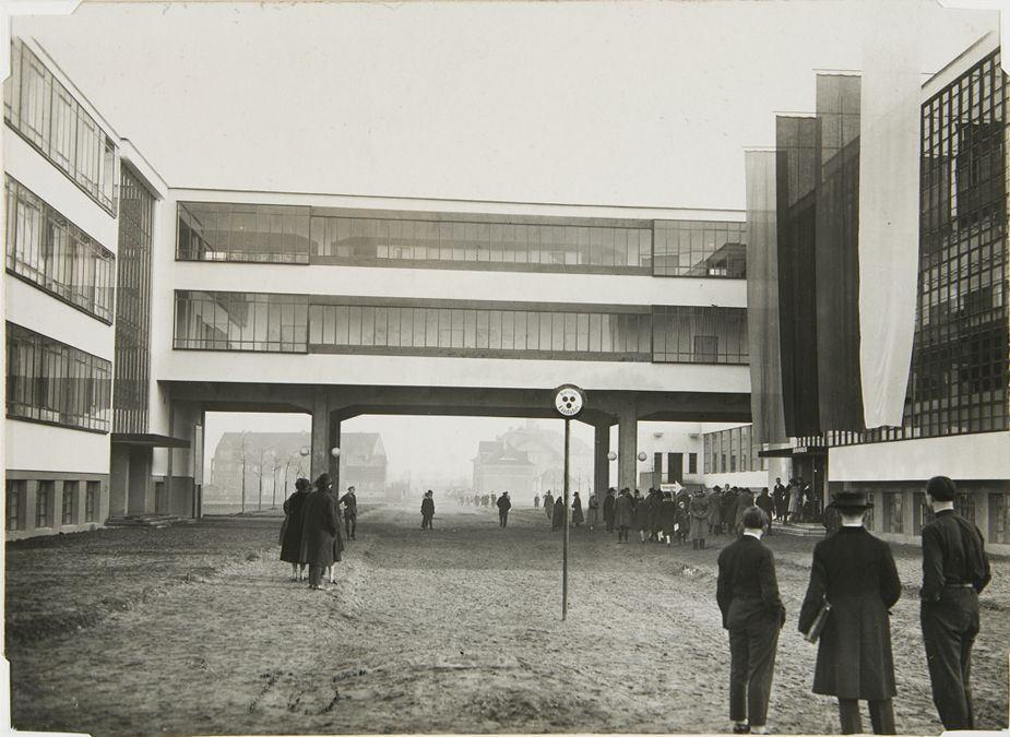 Bauhaus Building, Dessau on opening day, 4 December 1926