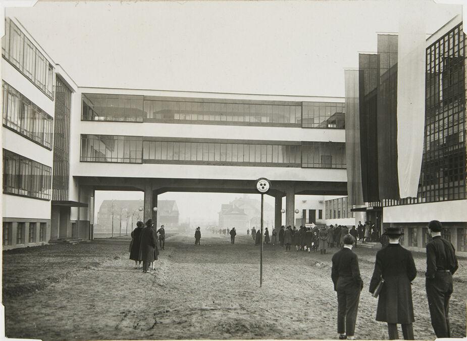 Bauhaus Building, Dessau on opening day, 4 December 1926