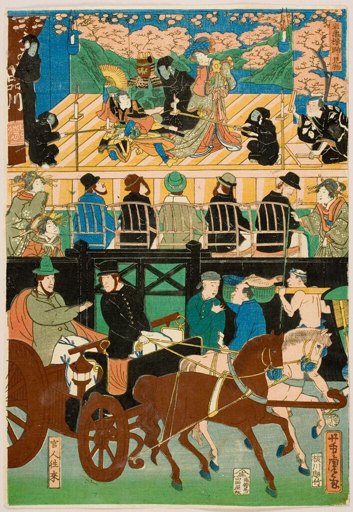 View Of The Amusements Of The Foreigners In Yokohama, Bushu (Bushu Yokohama Gaikokujin Yūkyō No Zu), Published By Yamadaya Shōjirō