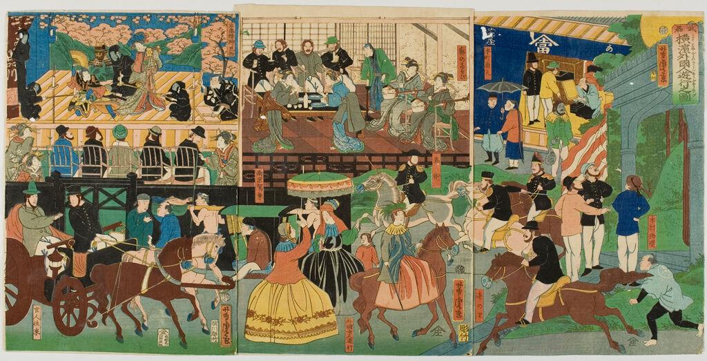 Triptych: View Of The Amusements Of The Foreigners In Yokohama, Bushu (Bushu Yokohama Gaikokujin Yūkyō No Zu), Published By Yamadaya Shōjirō
