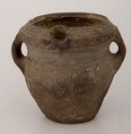 Small Pouring Vessel with Short Spout, Two Strap Handles, and Geometric and Cord-Marked Decor