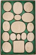 Collection of Seventy Plaster Casts of Gems in wooden box