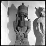 Kafir grave effigy.  Man standing, with ceremonial axe on shoulder