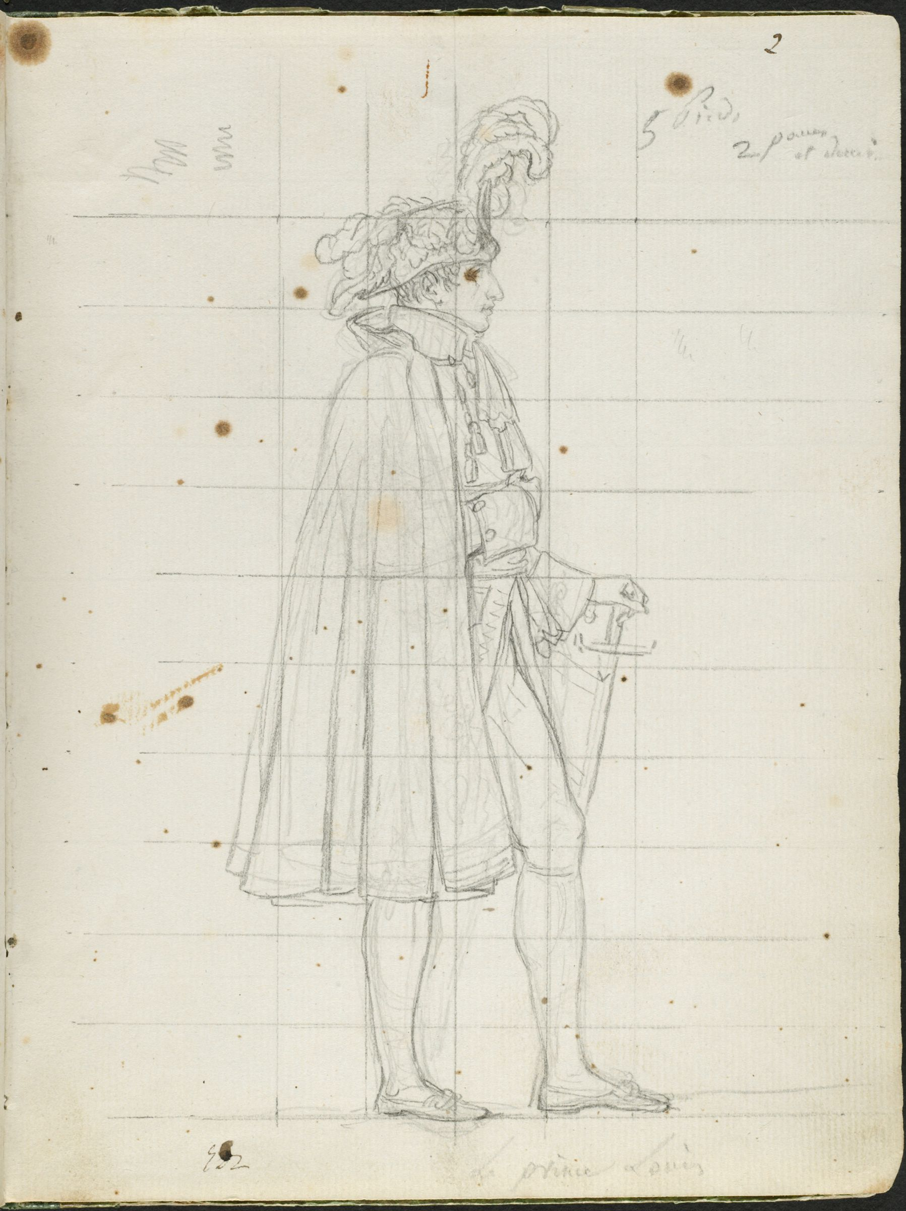 Prince Louis Bonaparte; Verso: Nude Study Of Napoleon Striding Forward, Raising His Right Arm And Clutching A Sword To His Breast
