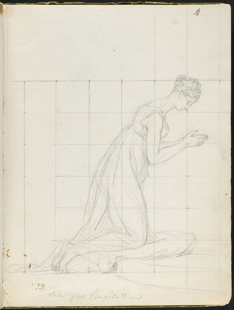 The Empress Josephine, Kneeling To Receive The Imperial Crown; Verso: Faint Sketch Of Hortense De Beauharnais, The Princess Louis, Holding The Hand Of Her Son, Prince Napoleon-Charles