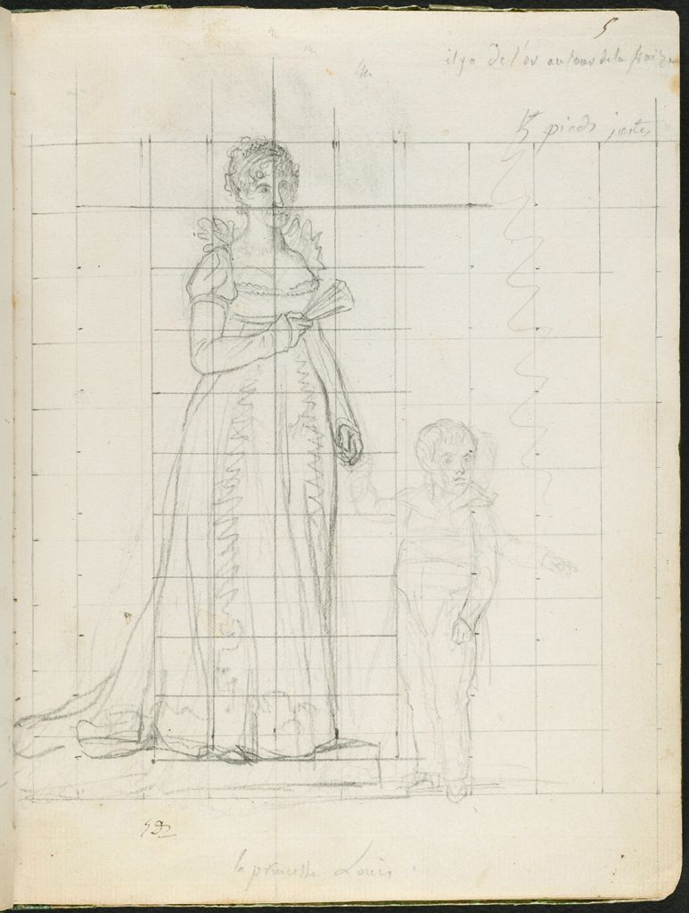 Hortense De Beauharnais, The Princess Louis, Holding The Hand Of Her Son, Prince Napoleon-Charles; Verso: Faint Sketch Of A Head