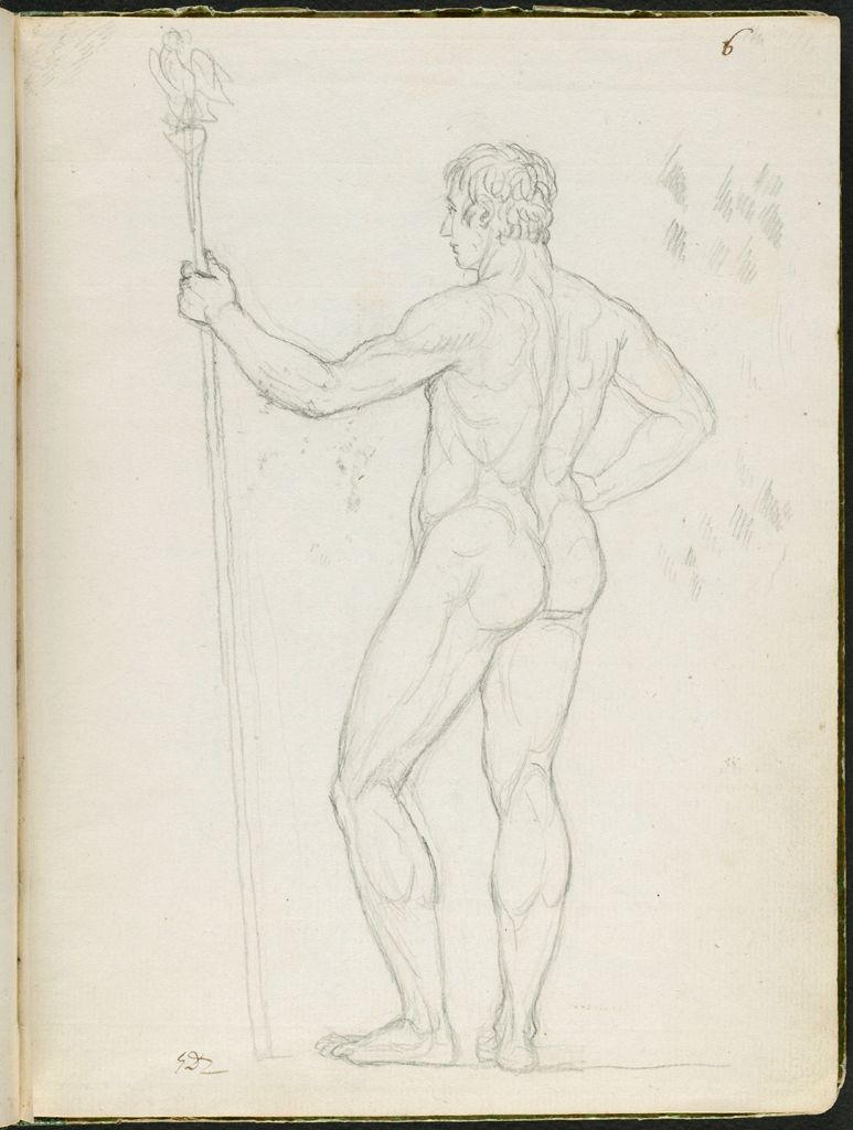 Nude Study Of Consul Lebrun Holding The Imperial Insignia; Verso: Faint Sketch Of The Comtesse De La Rochefoucauld And The Comtesse De La Valette