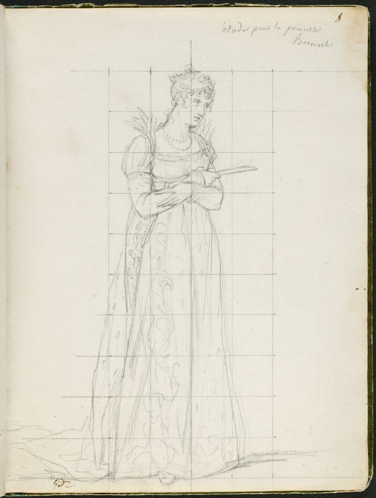 Elisa Bonaparte, The Princess Bacciochi, Princess Of Lucca And Piombino; Verso: Faint Sketch Of Maréchal Berthier Holding The Imperial Orb Of Charlemagne