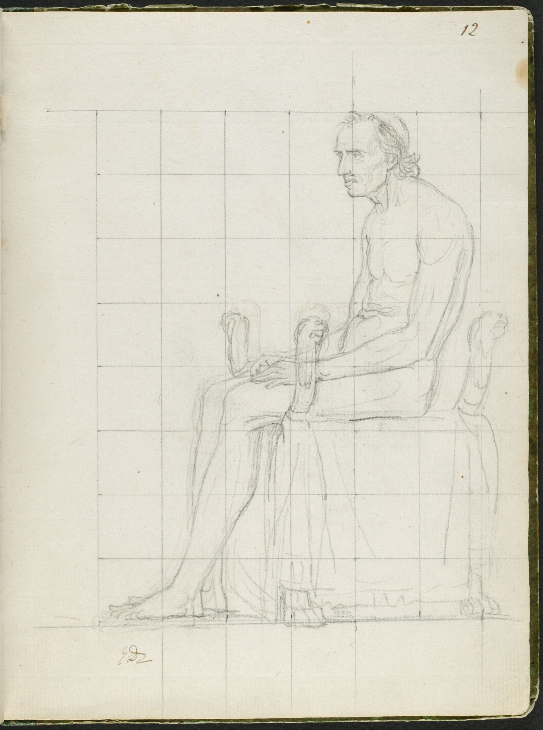 Nude Study Of Pope Pius Vii Seated; Verso: Faint Sketch Of A Man's Head