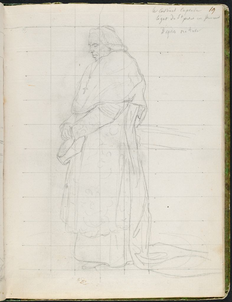 Cardinal Caprara In Cardinal's Robes, Wearing A Wig And Carrying A Biretta; Verso: Faint Sketch Of Prince Joachim Murat