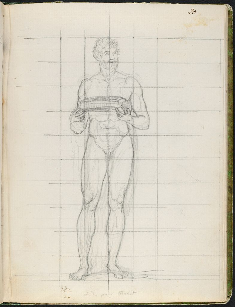 Nude Study Of Prince Joachim Murat, Later King Of Naples, Holding The Cushion For The Empress' Crown; Verso: Blank Page