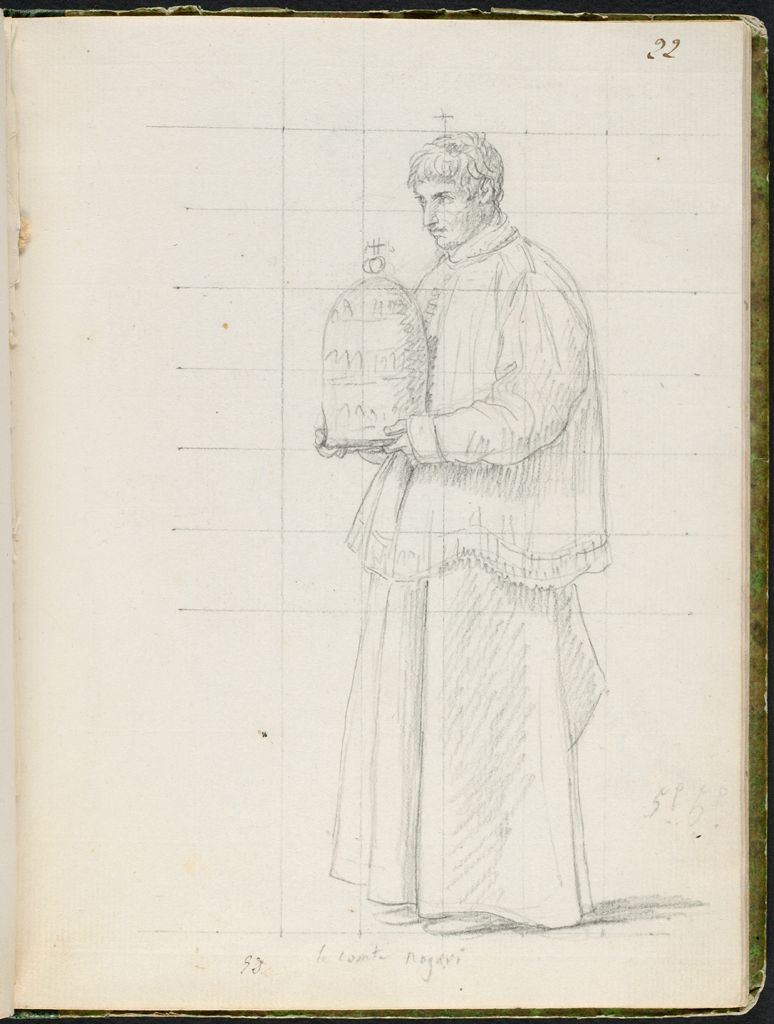 Count Rogari Holding The Papal Tiara; Verso: Blank Page