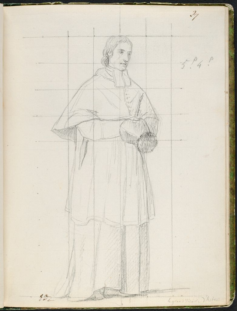 Monsieur D'astros, Vicar-General Of The Archdiocese Of Paris; Verso: Faint Sketch Of Talleyrand Holding A Pillow