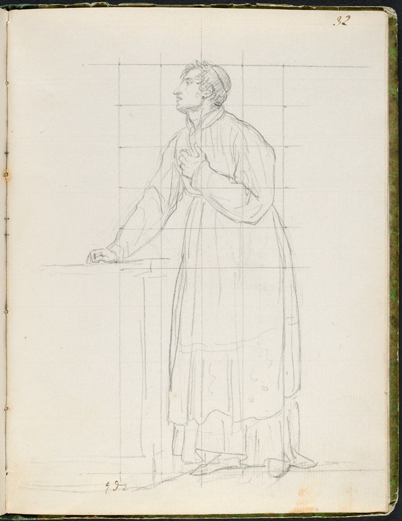A Cleric Holding His Hand To His Breast; Verso: Blank Page