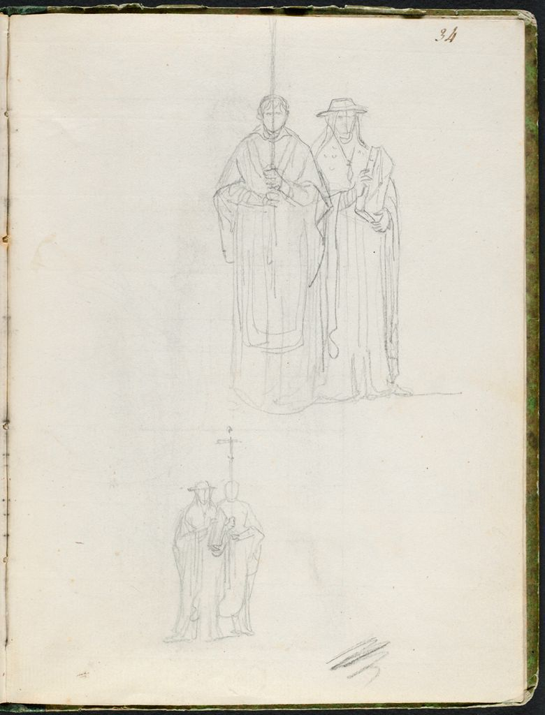 Two Studies Of A Cross-Bearer Accompanied By A Cardinal Carrying A Sacred Book; Verso: Two Studies Of A Cardinal, One Full Face And One In Profile