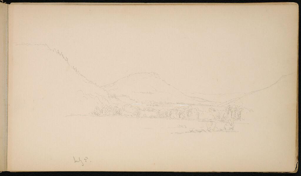 Landscape; Verso: Man Writing; Small Landscape; Caricatured Figure