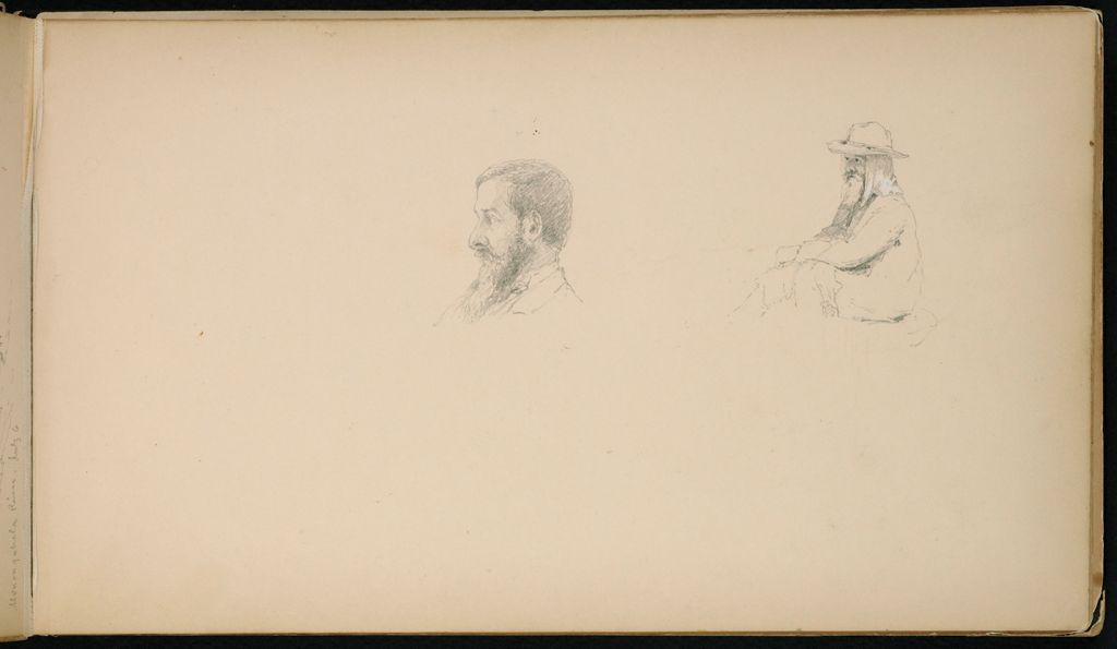 Two Male Portrait Sketches; Verso: Two Landscapes