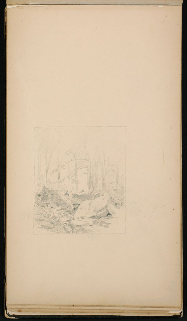 Rocky Landscape With Trees; Verso: Kauterskill Clove From Haines Falls: Three Sketches