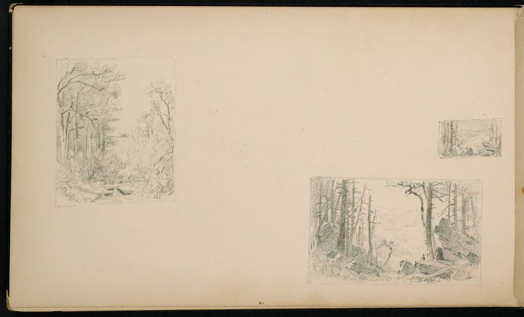 Blank Page; Verso: Three Small Landscapes (Kauterskill Clove?)