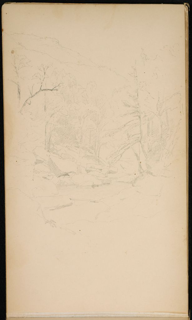 Blank Page; Verso: Landscape With Rocky Stream