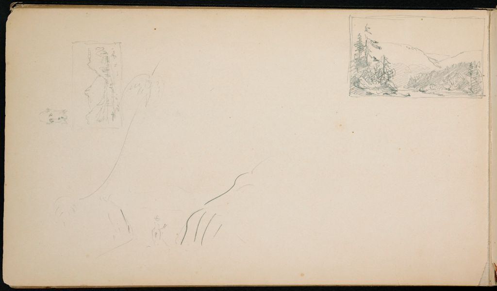 Blank Page; Verso: Three Small Landscapes And A Caricatured Head