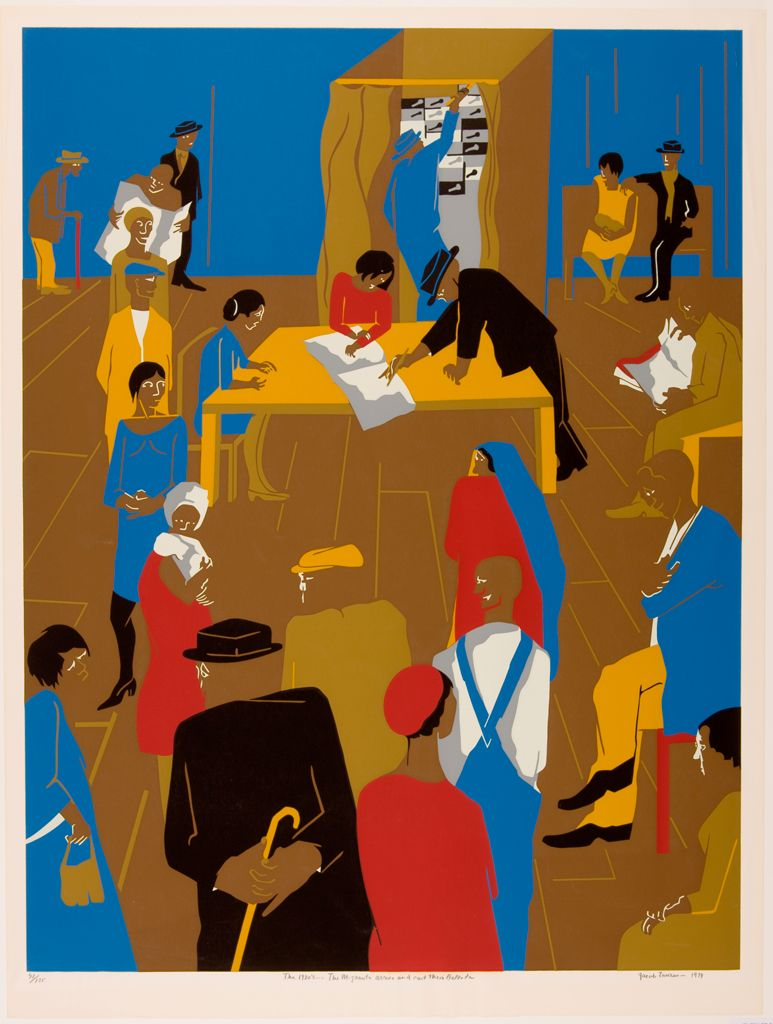 This screenprint shows a group of brown-skinned figures gathered in a large room with a wooden floor and blue walls. The figures have few facial features. The figures' clothes are either black, red, yellow, blue, or beige or in combination of those colors. In the foreground, men and women wait in line. In the center of the composition, a woman sitting at a large yellow table rests her hands on a large white open book; a man wearing a black suit points to one of the pages. In the background, a man in a blue suit stands in a voting booth and is pulling the lever.