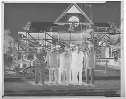 Untitled (Men In Suits Standing In Front Of Construction Of Methodist Church In Lockhart, Texas)