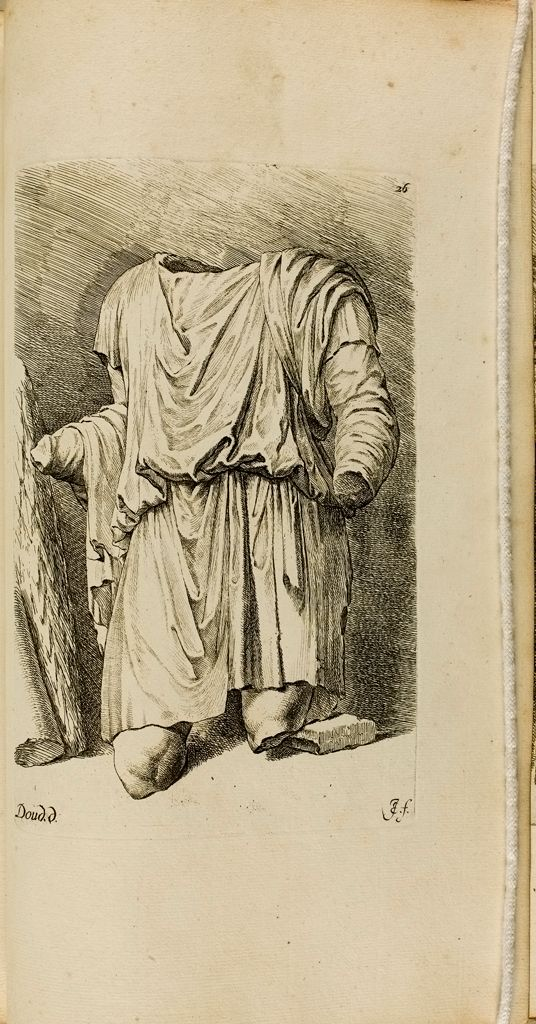 Plate 26: Torso Of A Draped Male Statue, With Fragments Of Two Columns Leaning Against A Wall