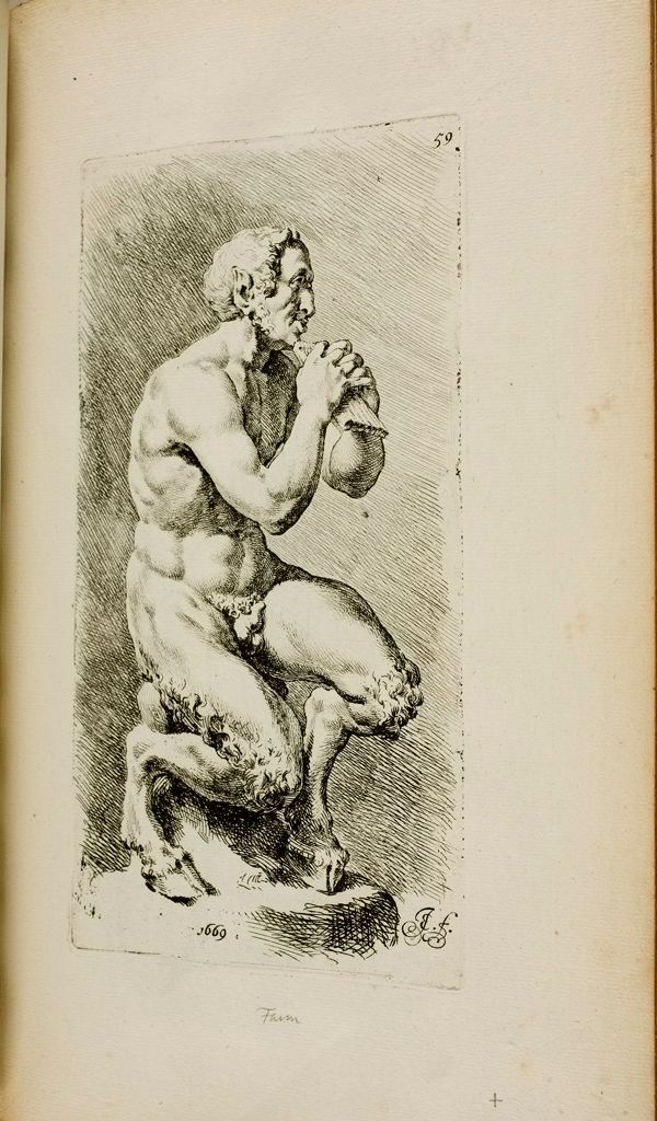 Plate 59: Seated Pan Holding The Syringes (Slide Whistles) In Both Hands