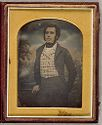 Untitled (Man In Checkered Vest, Against Painted Backdrop, Standing, Three-Quarter Length, Three-Quarter View)