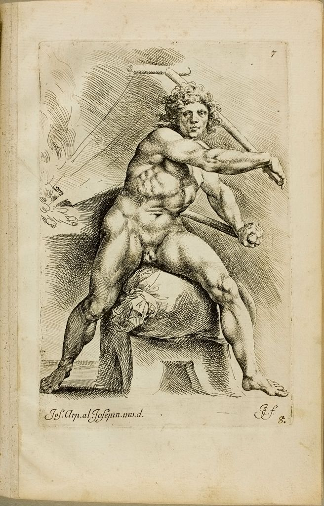Plate 7: Study Of A Male Nude Astride A Sack, Working A Pair Of Bellows