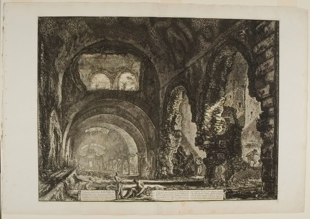 The So-Called Villa Of Maecenas At Tivoli. Interior. With Two Figures In The Opening Of An Arch Above.