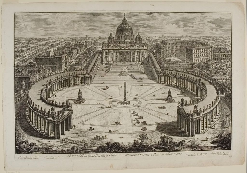 St. Peter's, With Forecourt And Colonnades. Bird's-Eye View.