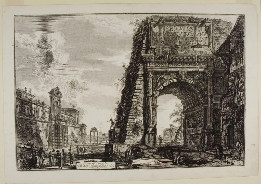 The Arch Of Titus With The Casino Farnese On The Left