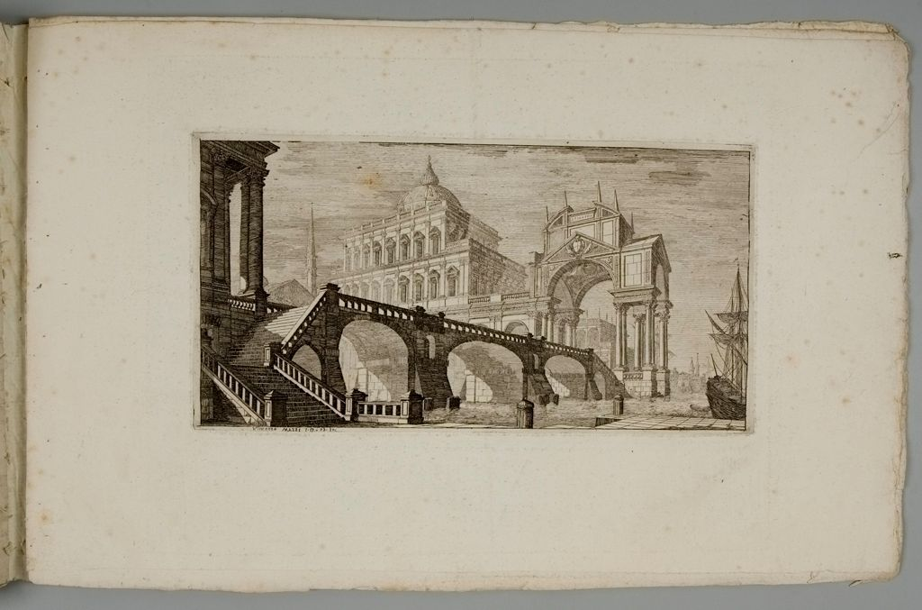 Baroque Palace Above River With Triumphal Arch, Bridge And Ship